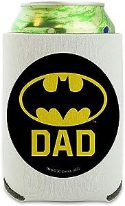 Batman Bat Dad Shield Logo Can Cooler - Drink Sleeve Hugger Collapsible Insulator - Beverage Insulated Holder