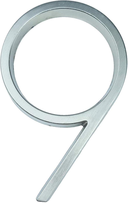 12cm Big 3D Modern House Number Door Accueil Adresse num/éros for Maison Nombre num/érique porte ext/érieure Plaques signe 5 pouces.0-9 Argent num/éro de maison Color : 0