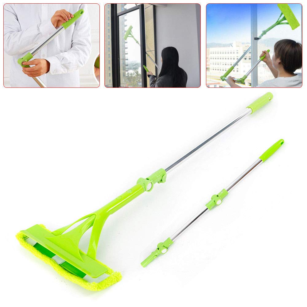 WUPYI Window Glass Cleaner Sponge Mop Brush Double-Sided Floor-Standing Glass Cleaning Brush with Telescopic Foldable Extendable Handle Multi-Angle Rotation,for High-Rise Window