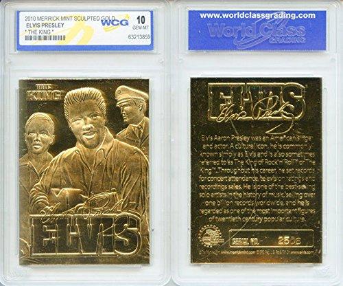 ELVIS PRESLEY 2010 The King 23KT Gold Card Sculpted Limited - Graded GEM MINT 10