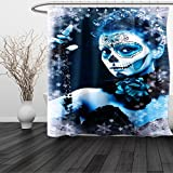 HAIXIA Shower Curtain Day Of The Dead Mexican Festive Celebration Roses Snowflakes Dead Art 3 Queen Full Light Grey and Light Blue