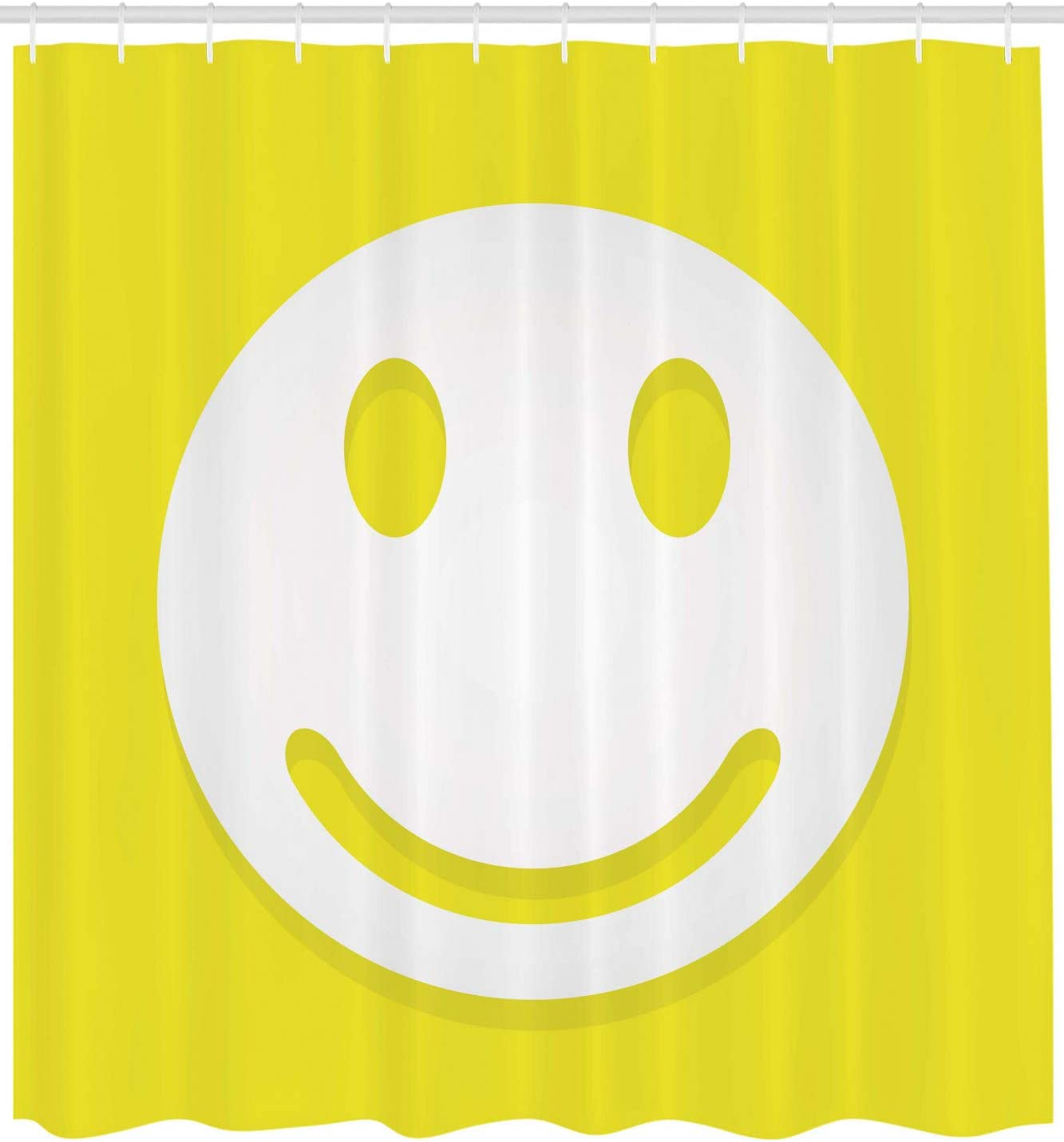 Ambesonne Yellow Shower Curtain Rise Wake Up Positive Optimistic Life Message Big Smiling Happy Face Artwork Cloth Fabric Bathroom Decor Set With Hooks 105 Extra Wide Yellow And White Home