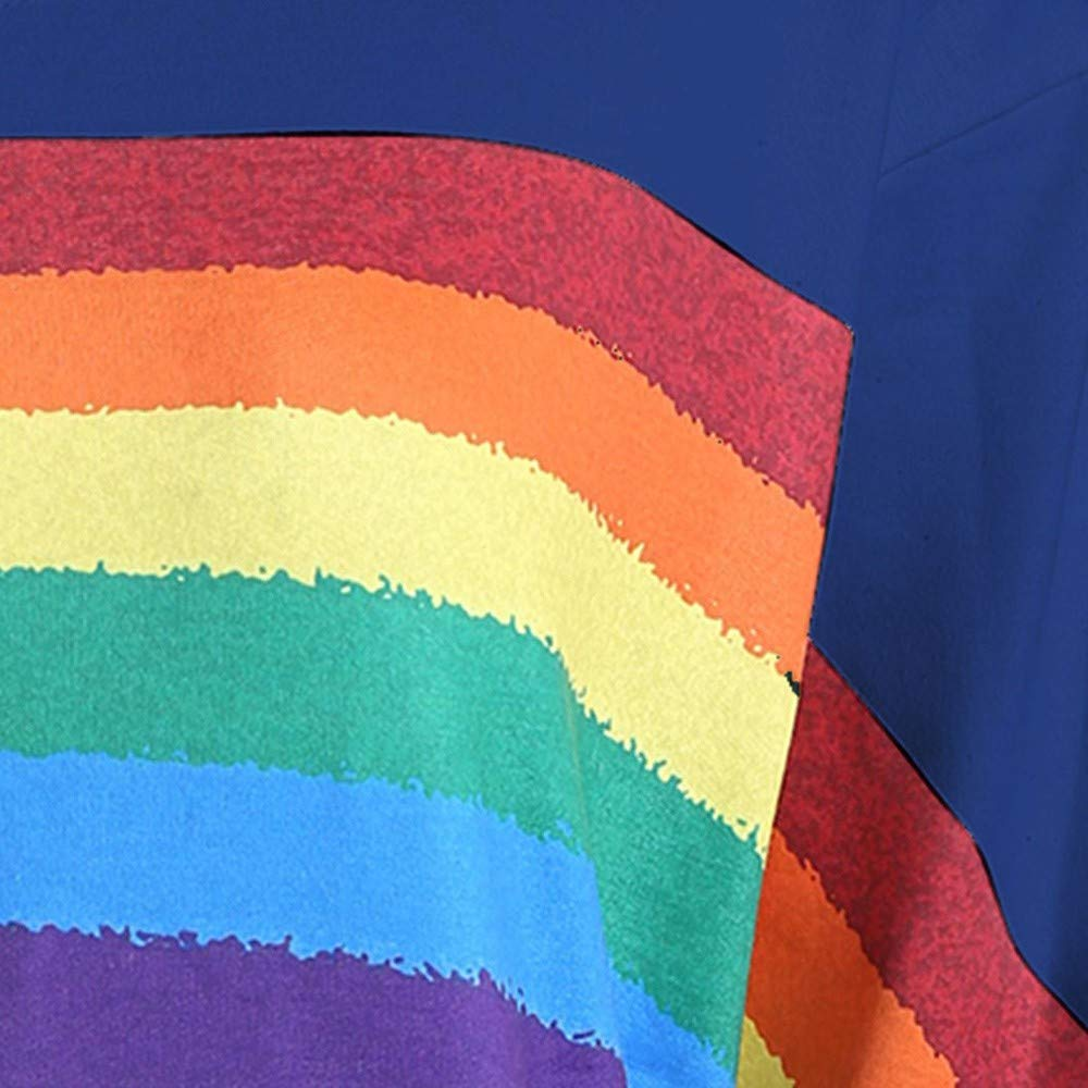 〓COOlCCI〓Women Sweatshirt,Casual Long Sleeve Shirts Women Loose Rainbow Print One Shoulder Pullover Blouse Shirts Tops by COOlCCI_Womens Clothing (Image #4)