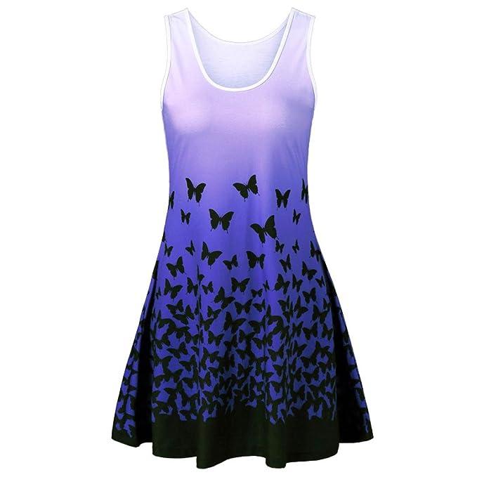 MRULIC Damen Schmetterling Druck ärmelloses Party Kleid Vintage ...