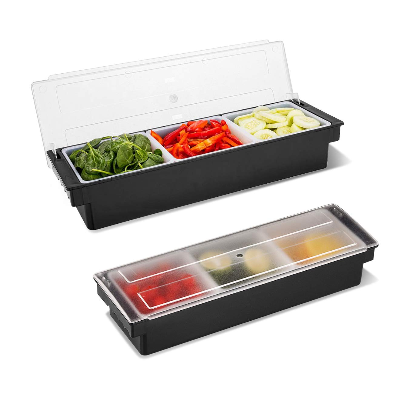 WICHEMI Condiment Caddy with Lid Dispenser Tray For Candy, Dips & Salad | Toppings Serving Container Chilled Garnish Tray Bar Fruit Caddy for Home Work or Restaurant (3 Compartment) 61lWiiHZ4vL