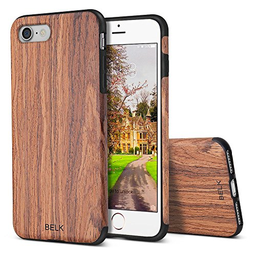 Wood Shell Natural Finish (iPhone 8 Case,iPhone 7 Case, BELK [Air To Beat] Non Slip Soft Wood Slim Bumper, Scratch Resistant Grip Ultra Light TPU Snap Back Cover with Rubber Corner for Apple iPhone 7/iPhone 8)
