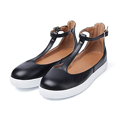948077749c6 Mostrin Fashion Womens Flats Loafers Cutout Casual Leather Shoes T-Strap  Sneakers Comfortable Slip on