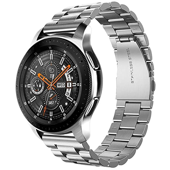 Supoix Compatible for Samsung Galaxy Watch (46mm) Bands, 22mm Soild Metal Stainless Steel Smart Watch Replacement Bracelet Strap XL/Large for Galaxy ...
