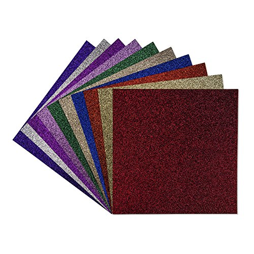 "10 Sheets of 350 gsm Smooth-Cut 12""x12"" Multi-Colored Glitter Paper, Soft Touch Card Stock for Scrapbooking, Invitations, Wedding Cards, Cake Toppers And More DIY projects by Coolahoo 820103233408"