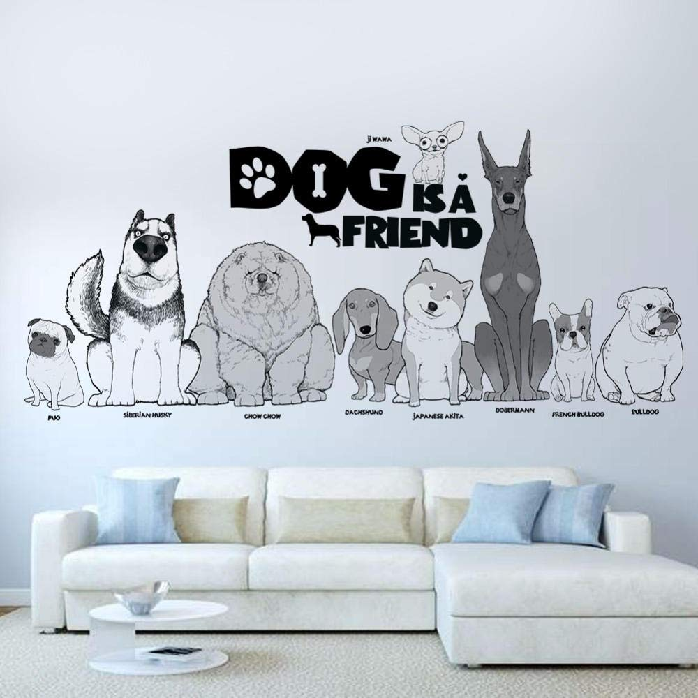 German Shepard Dog Mans Best Friend Cop Dog Breed Animal Wall Decal Vinyl Sticker Mural Room Decor L945
