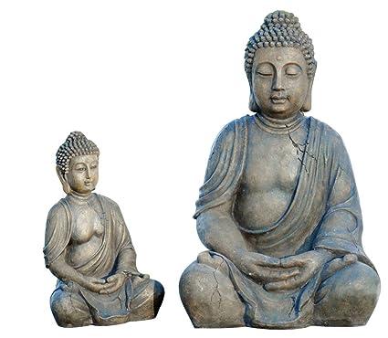 Buda figura de Buda figura decorativa Escultura - altura 30 cm color  antracita 87b5748fa4a