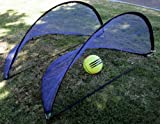 Set of Two (2) Portable Pop Up Foldable Soccer Goals Child Soccer Nets, 5 Foot / 1.6 Meters, Black Trim
