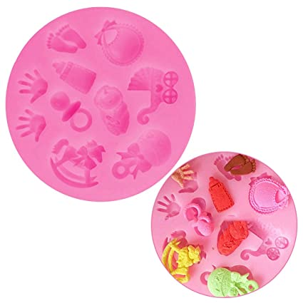 Baby Shower Party Cochecito Botella de Mano troyano Molde de Silicona jabón Fondant de Chocolate decoración