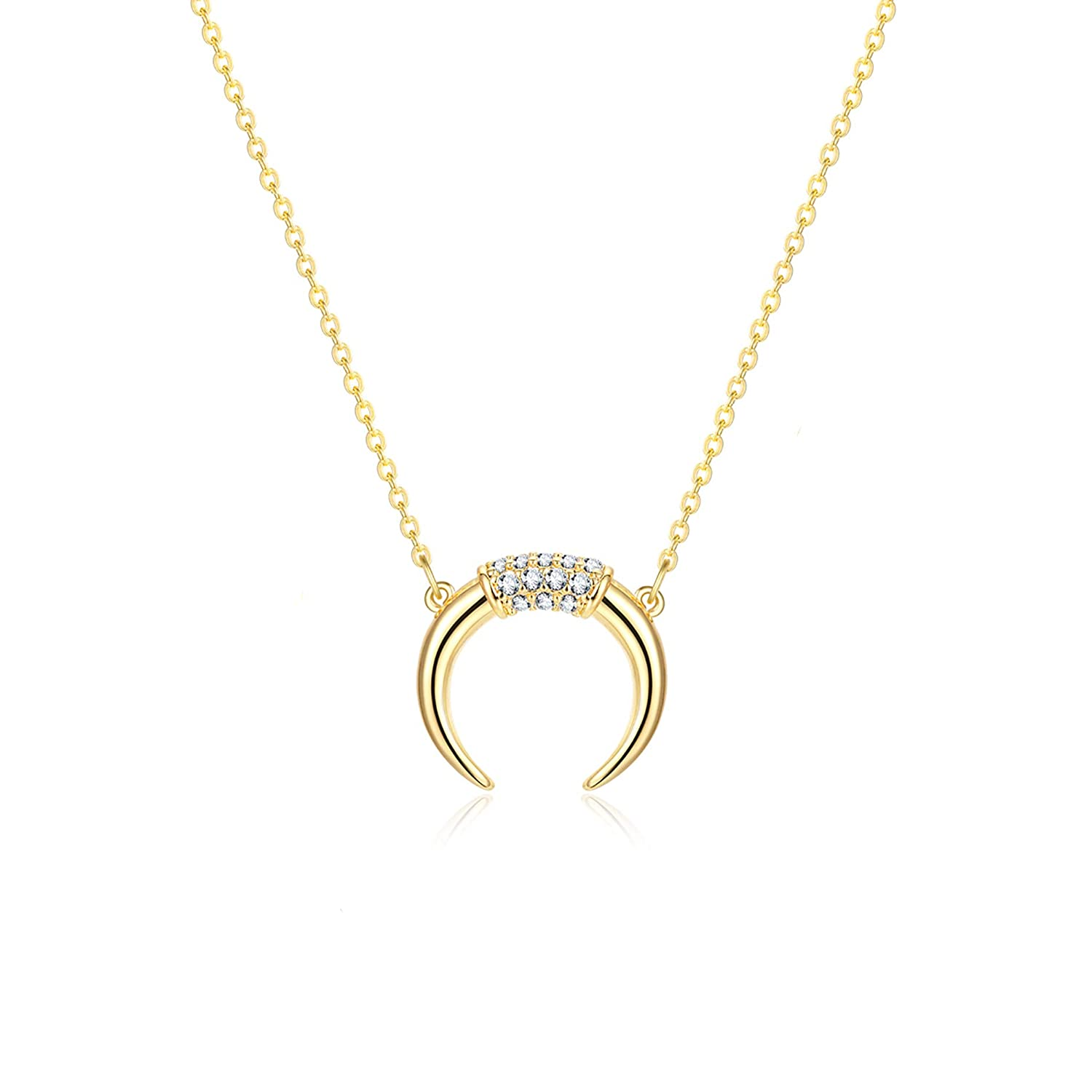 4c21ca5377d6aa Amazon.com: Fettero Dainty Gold CZ Crescent Moon Necklace, Crescent  Necklaces for Women, (CZ Crescent Moon): Jewelry