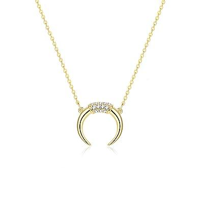 90b5ad93e42f5e Fettero Dainty Gold CZ Crescent Moon Necklace,Crescent Necklaces for Women,  (CZ Crescent