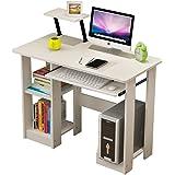 Soges scrivania studio scrivania scrittoio Hutches con porta tastiera e computer host, bianco