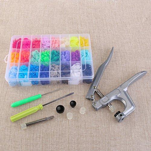 Lot de 360 T5 Plastique Boutons Fermeture 20 couleurs Boutons pression et Snap Pince pour DIY Clous Outil de perforation Sheny