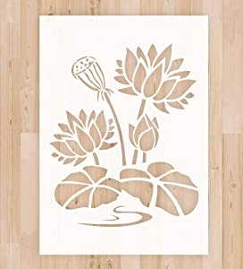 """Stencil for Painting on Wood Canvas - A4 Size 8.3""""x11.7"""" Reusable Mylar Plastic Painting Stencil for Wood Signs, DIY Home Decoration and Art Craft Drawing, Lotus Flower Stencil"""