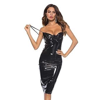 49c2c9ef43 Xinbeauty Women Spaghetti Straps Slim Push Up Faux Leather PVC V-Neck Vinyl  Midi Bodycon Party Cocktail Club Dress at Amazon Women's Clothing store: