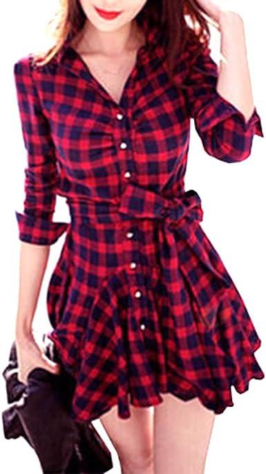 Vestidos De Mujer Blusa Cuadros Rojos Manga Larga De A Ropa Festiva Cuadros con Cuello En V Camisas Mini Vestido Blusa Vestido Elegante Moda Vintage Casual Una Línea Vestido De Camisa: Amazon.es: