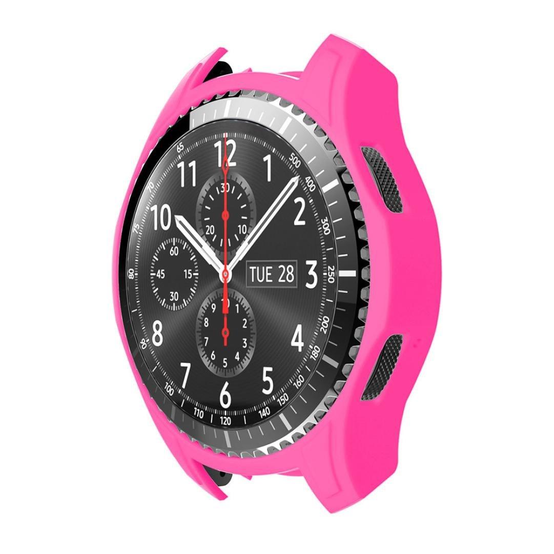 For Samsung Gear s3フロンティア、Binmer ( TM )シリコンスリムスマートウォッチケースカバー M ピンク ピンク ピンク B075XQDFZP