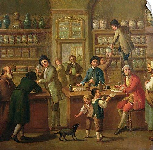 Canvas on Demand Italian School Wall Peel Wall Art Print entitled Interior of a Pharmacy (Regent Vase)