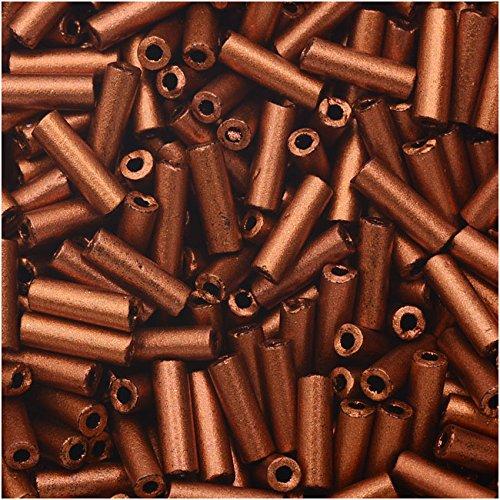 [Czech Glass Bugle Beads, Cylinder Size #3 '7mm', 24 Gram Tube, Matte Copper] (Copper Bugle)