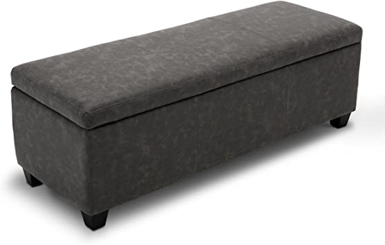 """Amazon.com: BELLEZE 48"""" Storage Ottoman Faux Leather Luxury Bedroom Cushion  Bench Upholstered Decor, Rustic Gray: Furniture & Decor"""