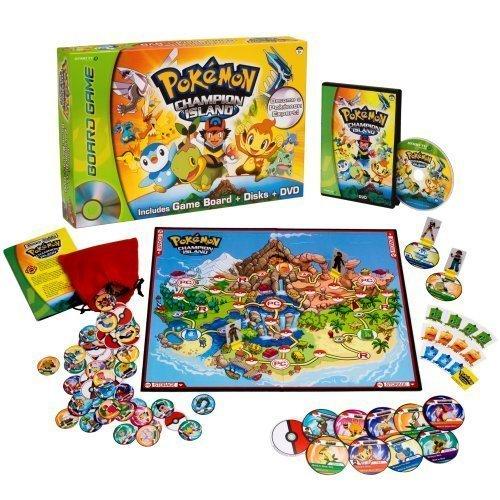 Includes: Champion Island Game Board, Dvd With Game Content, 4 Player Pawns, 60 Wild Pokemon Disks With Storage Pouch - Pokemon™ Champion Island DVD Board Game by Hasbro