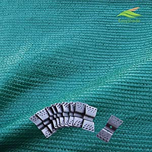EasyShade Grn60 Sunblock Green 60% Shade Cloth UV Resistant Fabric 14ft x 30ft Clips Free