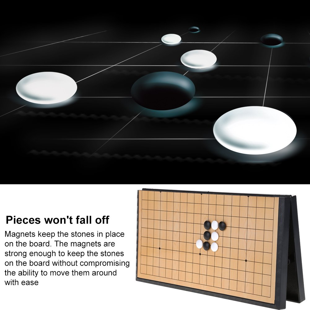 Alomejor Go Chess Board Game Set with Magnetic Plastic Stones and Collapsible Chess Board Weiqi Educational Games for Kids
