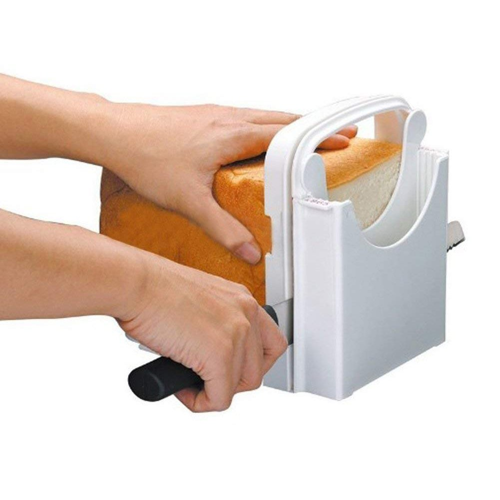 Bread Slicer Toast Slicer Toast Cutting Guide Folding and Adjustable Handed Bread Machine Bread Maker for Homemade Bread Bagel Loaf Sandwich White
