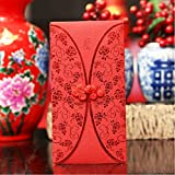 6-pack Original Cheongsam Design Chinese New Year Double Happiness Pocket Money Red Envelope Traditional Wedding Party Decoraion Gifts, Normal Size