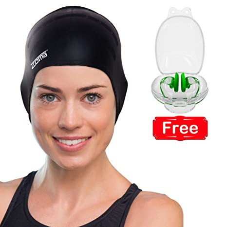 Amazon.com   Silicone Swimming Cap for Women and Men - Long Hair ... 12482223e0
