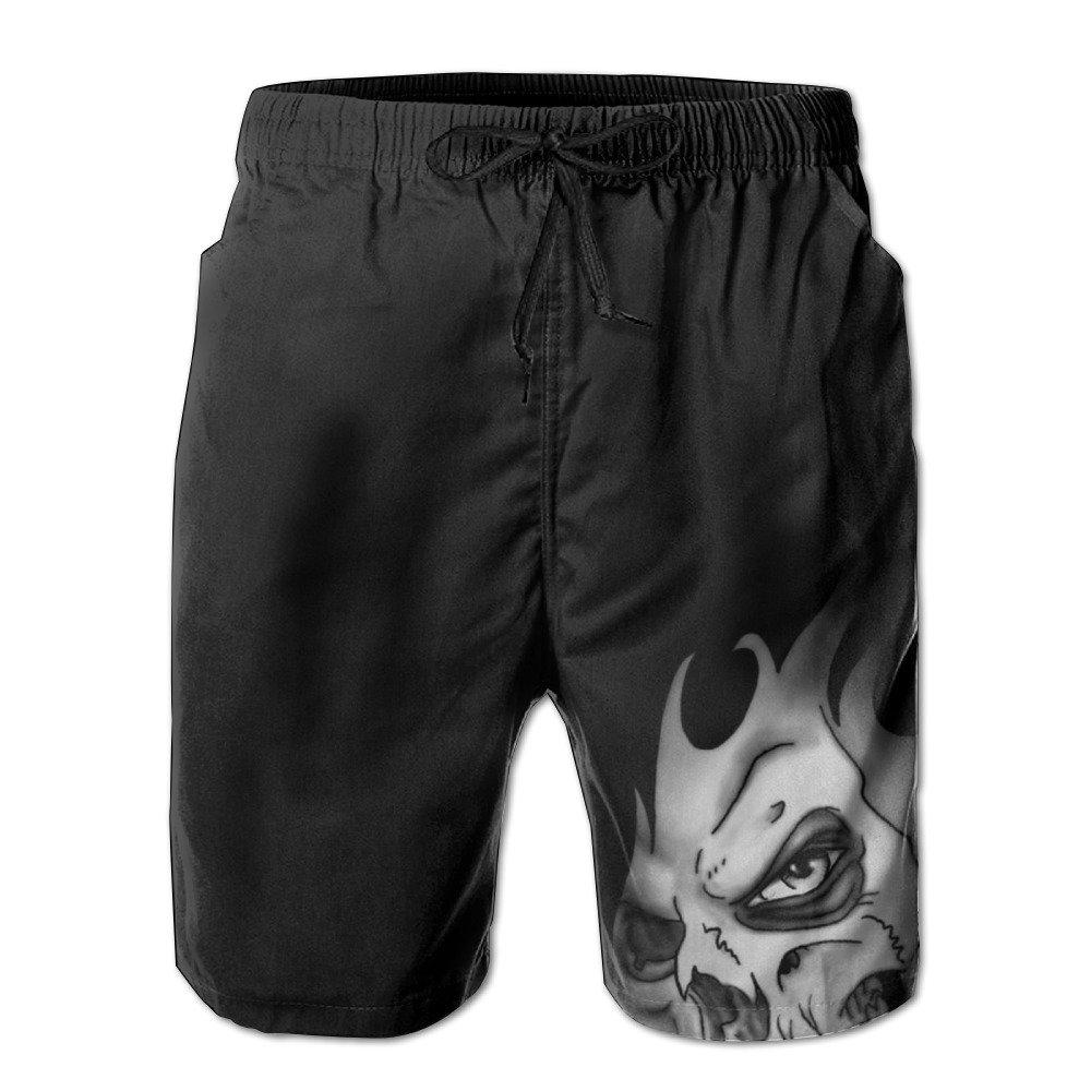 Skull Flame Hair Scary Skeleton Men's Swim Trunks Board Shorts