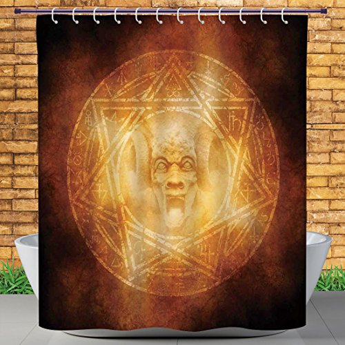 Homenon 72 X 84 Inch Shower Curtain by, Horror House Decor,Demon Trap Symbol Logo Ceremony Creepy Ritual Fantasy Paranormal Design,Orange,Water and Mildew Resistance Kids Shower Curtain Designs by Homenon