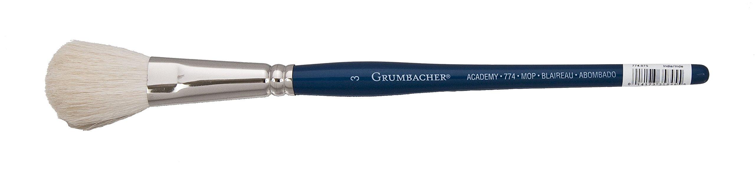 Grumbacher Academy Watercolor Round Mop Brush, White Nylon Bristles, 3/4'' Size (774.075)
