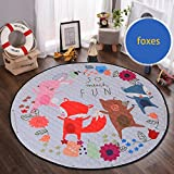 Round Kids Rug,Toys Storage Organizer,Nursery Rugs Large Cotton Anti-slip Cartoon Animal Baby Floor Mat Game Mat Area with Drawstring for Kids Room Living Room, 59x59 Inch (Foxes)