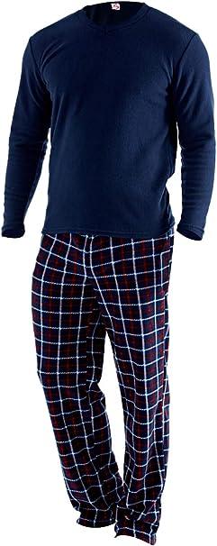 Conjunto de pijama de manga larga y suave con forro polar térmico para hombre Azul azul marino XL