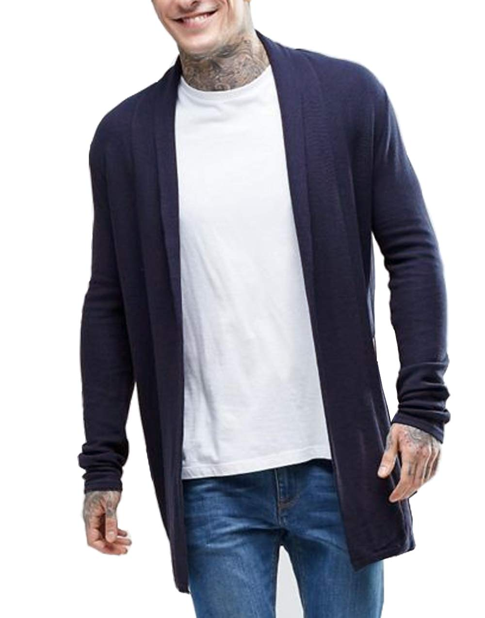 COOFANDY Men's Knitted Cardigan Sweater Slim Fit Casual Longline Open Front Cape Cloak, Navy Blue, Small