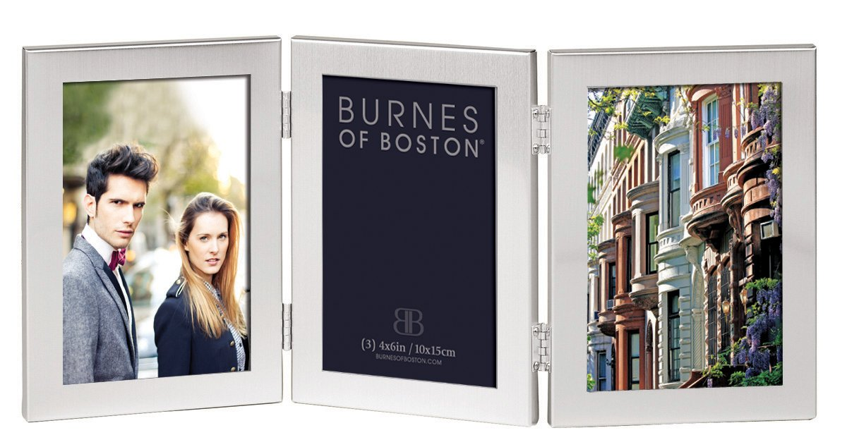 Burnes of Boston C53346 Triple Hnged Picture Frame, 4-Inch by 6-Inch, Brushed Silver