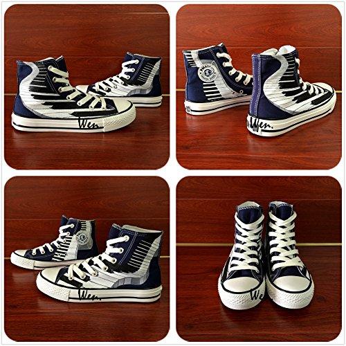 Wen Hand Painted Original Shoes Design Piano Keys Men And Women Canvas Sneakers fFz0VGx