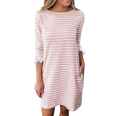 cb6cefbd6 Women Stripe T Shirt Mini Dress, Lady Summer Casual Long Sleeve Lace Crew  Neck Shift. M_5bd65d74c61777decb2b899e. Stylewe Striped Black ...