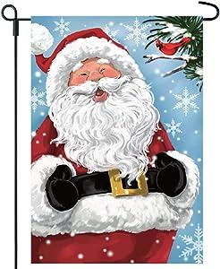 Twisted Anchor Trading Co Christmas Garden Flag - Santa with Cardinal Garden Flag w Snowflakes - Winter Holiday Flag - 12x18 Home Garden Flag