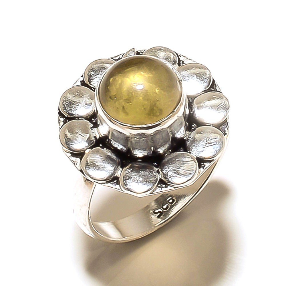 New Jewelry Yellow Champagne Quartz Sterling Silver Overlay 5 grams Ring Size 7.5 US