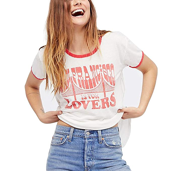 Basic T Shirts Women Summer Graphic Vintage Cute Aesthetic Tee Tops