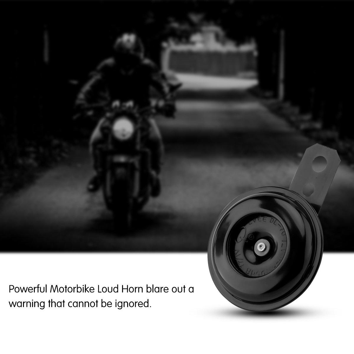 105dB DC12V TiooDre Horn universale moto Corno Elettrico clacson altoparlante rotondo forte bici elettrica campana in bicicletta manubrio allarme Horn tono Bells Ring per moto Modification 1.5A