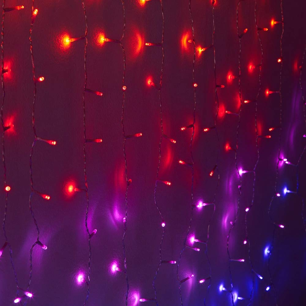 Fefelightup Rainbow Curtain Lights Fairy Lights Icicle Lights Fantasy Unicorn (Midnight)