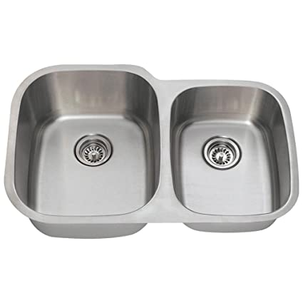 233defd457 503L 16-Gauge Undermount Offset Double Bowl Stainless Steel Kitchen Sink