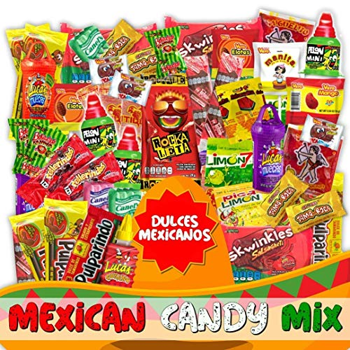 Mexican Candy Mix Assortment Snack (74 Count) Dulces Mexicanos Variety Of Best Sellers Spicy, Sweet, and Sour Bulk Candies, Includes Luca Candy, Pelon, Pulparindo, Rellerindo, etc... (Mexican Variety Candy)